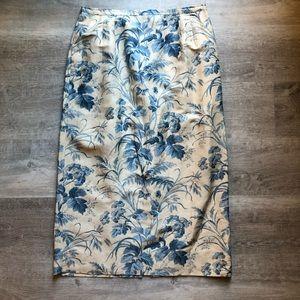 Talbots floral silk and linen blend skirt size 14